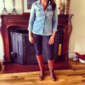 Chambray Shirt + Cream Lace Cami + Black Leggings + Brown Riding Boots.